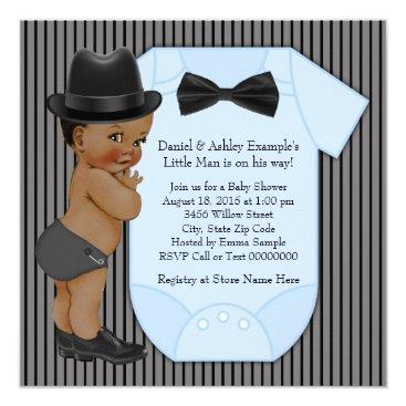 African American Little Man Baby Boy Shower Invitation