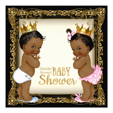 African American Prince Princess Gender Reveal Invitation