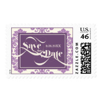 African Violet Purple Modern Vintage Save The Date Postage Stamps