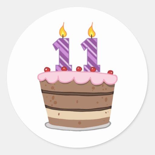 Age 11 On Birthday Cake Classic Round Sticker Zazzle