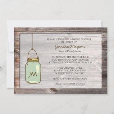 Aged Wood with Mason Jar Bridal Shower Invitation
