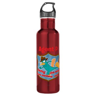 Agent P Saving the world from maniacal evil Badge Stainless Steel Water Bottle
