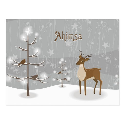 Ahimsa Holiday Reindeer Postcard