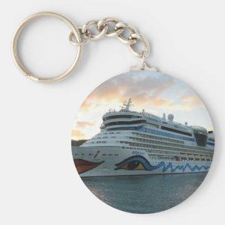 AIDAluna Cruise Ship in Road Town on Tortola Key Chains