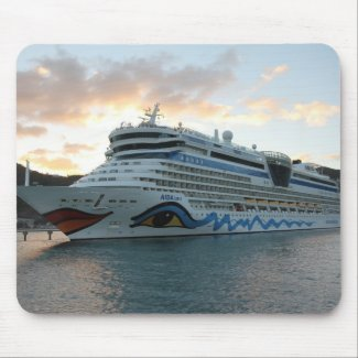 AIDAluna Cruise Ship in Road Town on Tortola Mousepads
