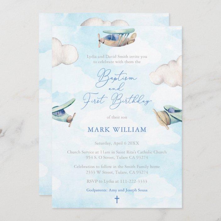 airplane boy baptism 1st birthday party invitation zazzle com