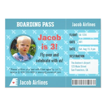 Airplane Pattern Boarding Pass Birthday Party Card
