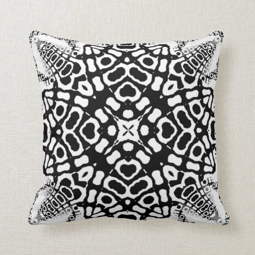 Ajuna Black White Geometric Tribal Pattern Cushion