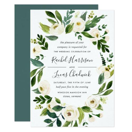 Alabaster Floral Frame Wedding Invitation