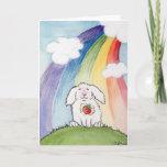 ❤️ Alfred Bunny At the  Rainbow Bridge Sympathy Card