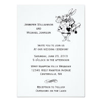 Alice In Wonderland #2 Black White Modern Wedding Card