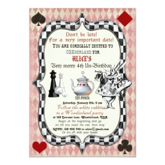 "Alice in Wonderland Birthday Party Invitation 5"" X 7"" Invitation Card"