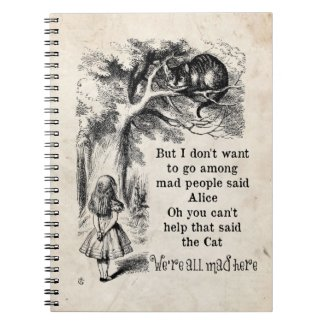 Alice in Wonderland; Cheshire Cat with Alice Spiral Note Books