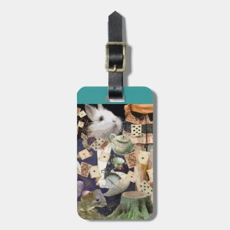 Alice in Wonderland collage, add name and contact Tag For Bags