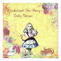 Alice & Pig Baby Wonderland Tea Party Baby Shower Card