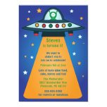 UFO Spaceship Birthday Party Invitations