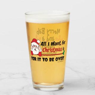 All I want for Christmas Bah Humbug Funny Black Glass