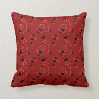 All Over Ladybug Design Throw Pillow