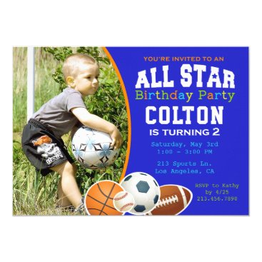 All Star Boys Sports Birthday Party Invitation