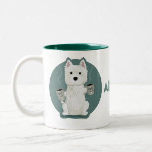 All The Coffee [Westie] Two-Tone Coffee Mug