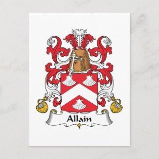 Allain Family Crest postcard