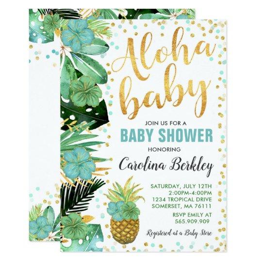 Aloha Baby Shower Invitation Tropical