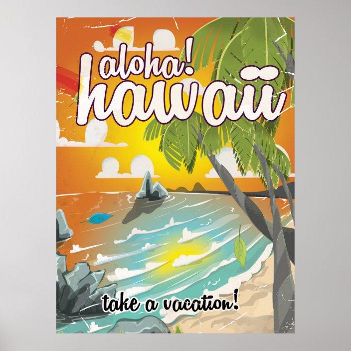 aloha hawaii vintage travel poster cartoon zazzle com