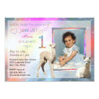 Alpaca Baby Girl 1st Birthday Party Invitations