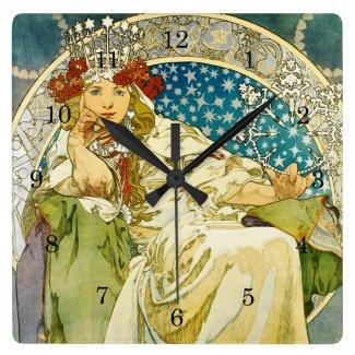 Alphonse Mucha Princess Hyacinth Art Nouveau Square Wall Clock