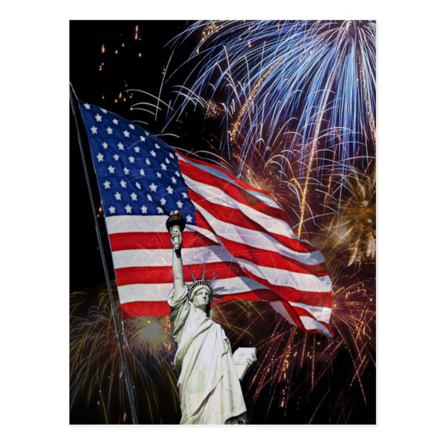 American Flag Fireworks And Statue Of Liberty Postcard