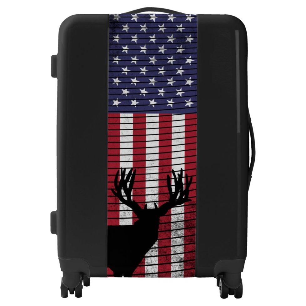 American Flag Patriotic Deer Hunting Silhouette Luggage