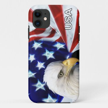 American Flag with Bald Eagle Patriotic iPhone 11 Case