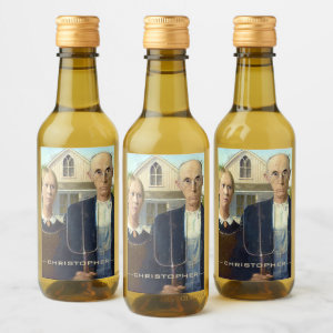 American Gothic Fine Art Oil Painting Masterpiece Wine Label