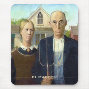 American Gothic Fine Art Oil Painting Mouse Pad