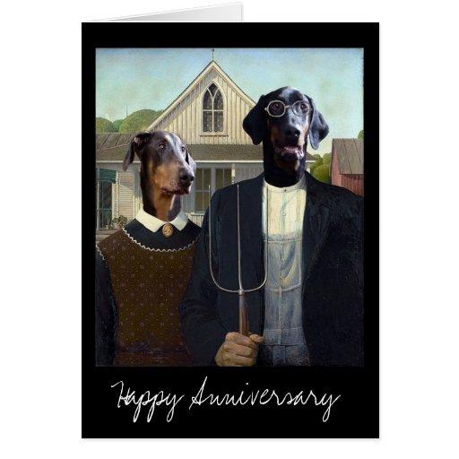 American Gothic Funny Doberman Dog Anniversary Card Zazzle