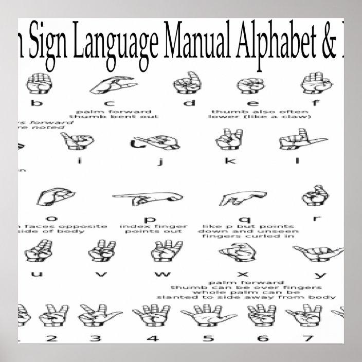 American Sign Language Asl Alphabet Numbers Chart Zazzle Com