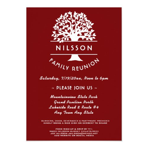 Ancestry Tree Berry Red Family Reunion Invitation