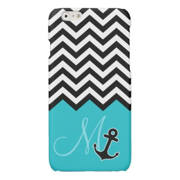 Anchor Aqua Blue Chevron Pattern Stylish Monogram Glossy iPhone 6 Case