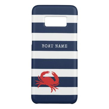 Anchor Navy Blue Stripes Red Crab Boat Name Case-Mate Samsung Galaxy S8 Case