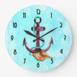Anchor With Rope And Seashell in Watercolors Large Clock