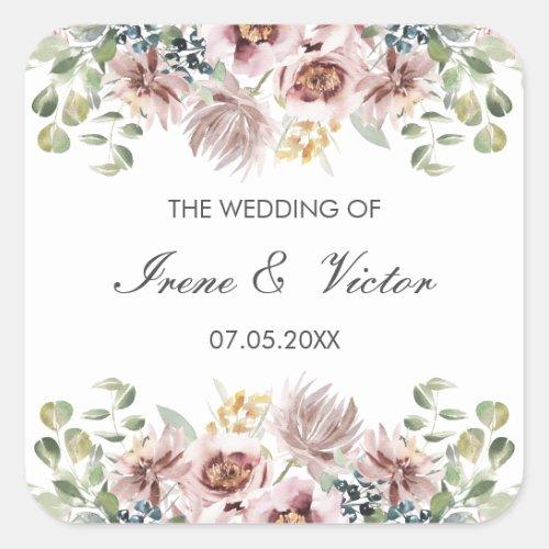 Anemone Blush Dusty palette wedding personalized Square Sticker