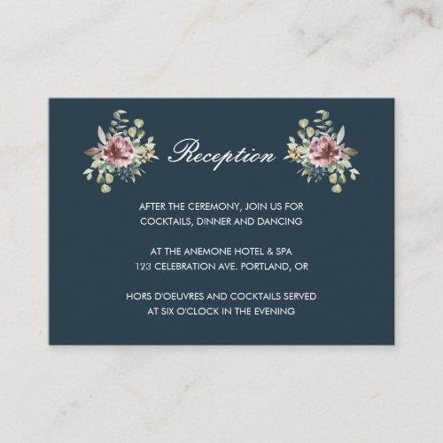 Anemone Blush Navy Blue  floral wedding Reception Enclosure Card
