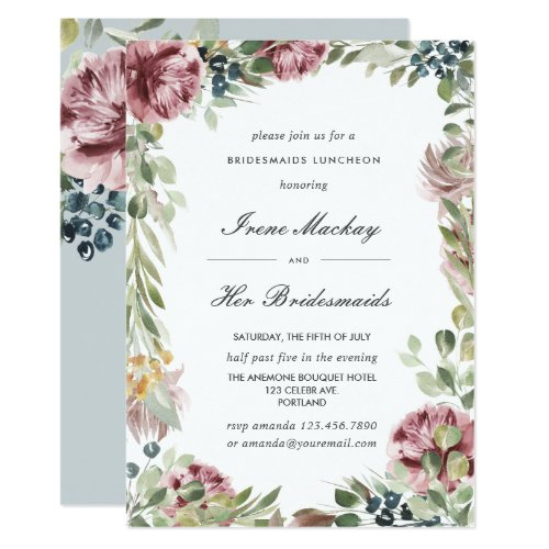 Anemone Gray Blue Botanical  BRIDESMAIDS LUNCHEON Invitation