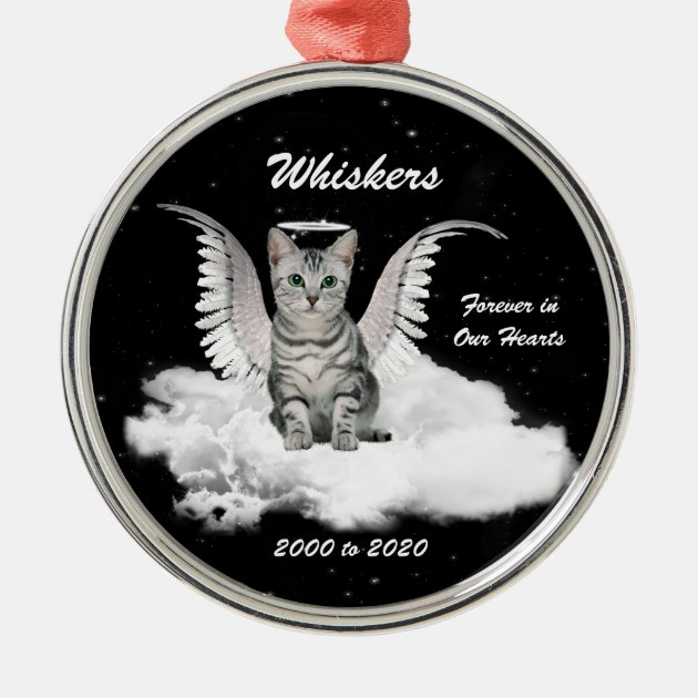 Angel Cat Personalized Memorial Christmas Ornament Zazzle