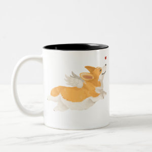 Angel Corgi Two-Tone Coffee Mug