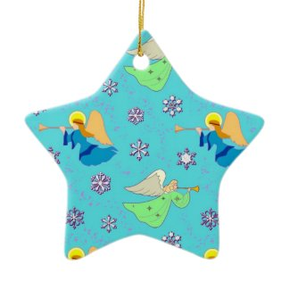Angels in Blue – Snowflakes & Trumpets ornament