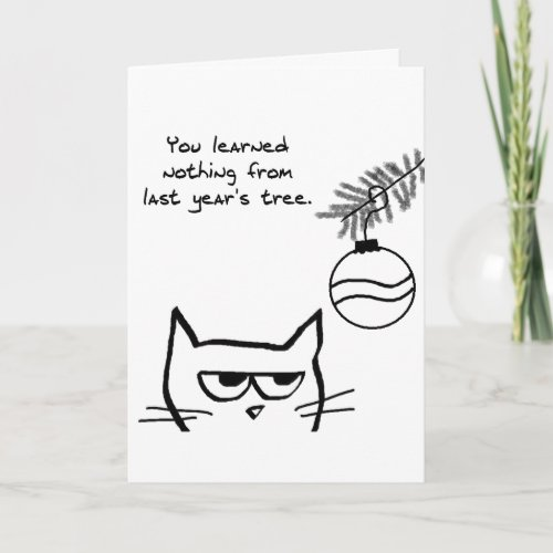 Angry Cat and the Christmas Tree Holiday Card