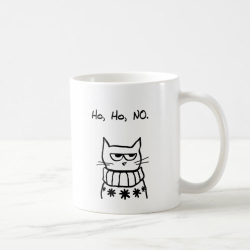 Angry Cat in a Christmas Sweater - Funny Cat Xmas Coffee Mug