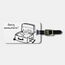 Angry Cat in Suitcase - Funny Gift for Travelers Bag Tag