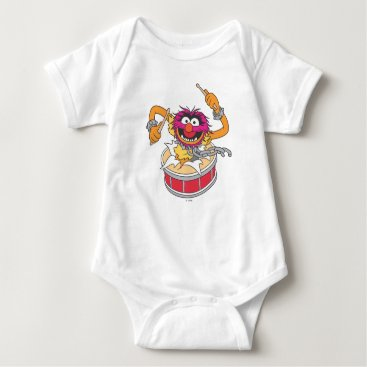 Animal Crashing Through Drums Baby Bodysuit
